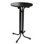 AntracitováMDF deska o průměru 70 cm. Výška stolu 110 cm. Stůl lzesložit a snadno uskladnit.