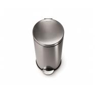 Pedálový odpadkový koš Simplehuman – 30 l, kulatý, matná ocel, FPP