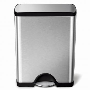 Pedálový odpadkový koš Simplehuman – 50 l, obdélníkový, matná ocel, FPP