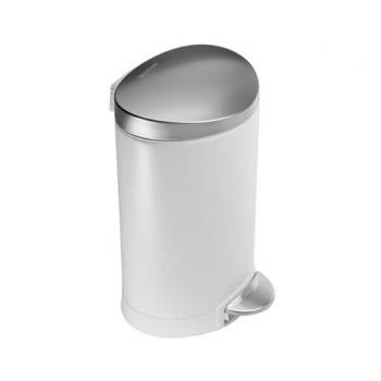 Pedálový odpadkový koš Simplehuman – 6 l, půlkulatý, FPP bílá/víko a pedál matná ocel