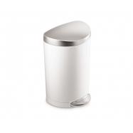 Pedálový odpadkový koš Simplehuman – 10 l, půlkulatý, FPP bílá/víko a pedál matná ocel