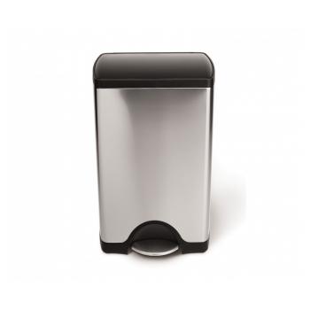 Pedálový odpadkový koš Simplehuman – 38 l, plastové víko, matná nerez ocel