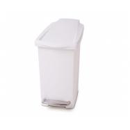 Pedálový odpadkový koš Simplehuman – 10 l, úzký, bílý plast