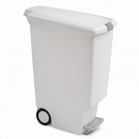 Pedálový odpadkový koš Simplehuman – 40 l, úzký, bílý plast