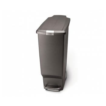 Pedálový odpadkový koš Simplehuman – 40 l, úzký, šedý plast