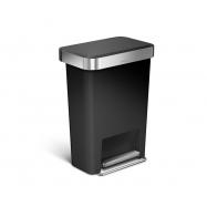 Pedálový odpadkový koš Simplehuman – 45 l, kapsa na sáčky, obdélníkový, černý plast /nerez