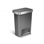 Pedálový odpadkový koš Simplehuman – 45 l, kapsa na sáčky, obdélníkový, šedý plast / nerez