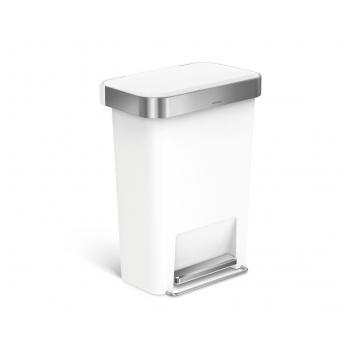 Pedálový odpadkový koš Simplehuman – 45 l, kapsa na sáčky, obdélníkový, bílý plast / nerez