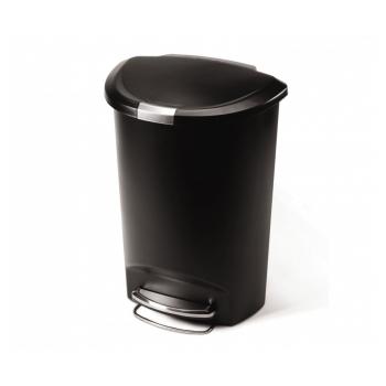 Pedálový odpadkový koš Simplehuman – 50 l, půlkulatý, plast, černý