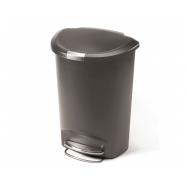 Pedálový odpadkový koš Simplehuman – 50 l, půlkulatý, plast, šedý