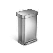 Pedálový odpadkový koš Simplehuman – 45 l, matná ocel, FPP, kapsa na sáčky