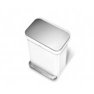 Pedálový odpadkový koš Simplehuman – 45 l, bílá ocel, kapsa na sáčky