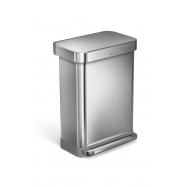 Pedálový odpadkový koš Simplehuman – 55 l, matná ocel, FPP, kapsa na sáčky