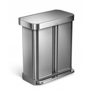 Pedálový odpadkový koš Simplehuman na tříděný odpad  – 58l (34/24), matná ocel, FPP