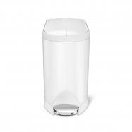 Pedálový odpadkový koš do koupelny Simplehuman – 10 l, butterfly víko, bílá ocel