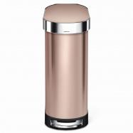 Úzký pedálový odpadkový koš Simplehuman Slim – 45 l, ROSE GOLD ocel, FPP