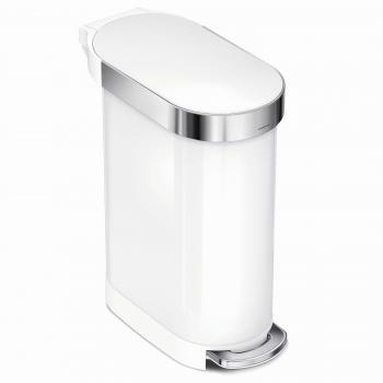 Úzký pedálový odpadkový koš Simplehuman Slim – 45 l, bílá nerez ocel