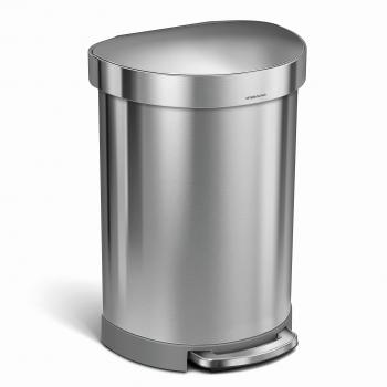 Pedálový odpadkový koš Simplehuman – 60 l, půlkulatý. kartáčovaná ocel, FPP, rám na sáčky