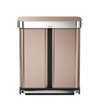 Pedálový odpadkový koš Simplehuman na tříděný odpad  – 58l (34/24), bronzový - ROSE GOLD