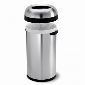 Odpadkový koš Simplehuman do komerčních prostor – 60 l, kulatý, otevřený, matná nerez ocel