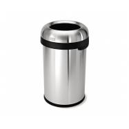 Odpadkový koš Simplehuman do komerčních prostor – 80 l, kulatý, otevřený, matná nerez ocel
