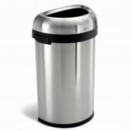 Odpadkový koš Simplehuman pro komerční haly, 60 l, půlkulatý, otevřený, kartáčovaná ocel