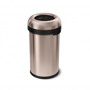 Odpadkový koš Simplehuman do komerčních prostor 60 l, kulatý, otevřený, ROSE GOLD ocel