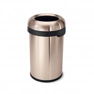 Odpadkový koš Simplehuman do komerčních prostor 80 l, kulatý, otevřený, ROSE GOLD ocel