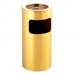 Kvalitní odpadkový kulatý koš s popelníkem ve zlatém provedení.