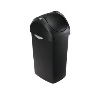 Odpadkový koš Simplehuman – 60 l, houpací víko, černý plast