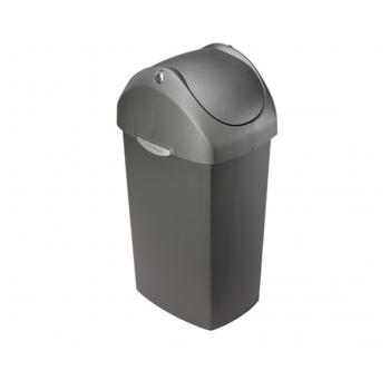 Odpadkový koš Simplehuman – 60 l, houpací víko, šedý plast