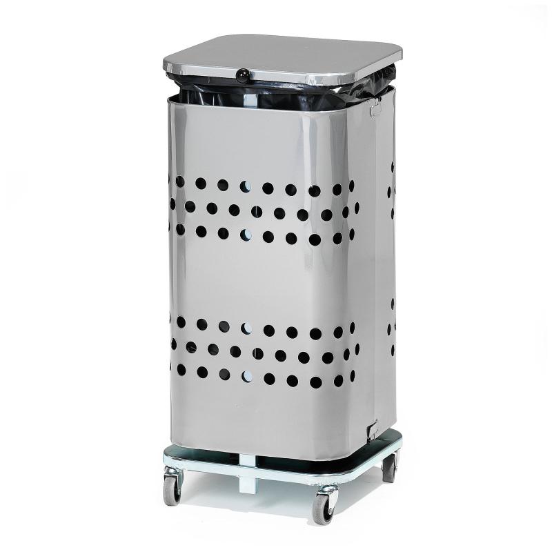 Stojan na odpadkové pytle s víkem, 60 l, pozink