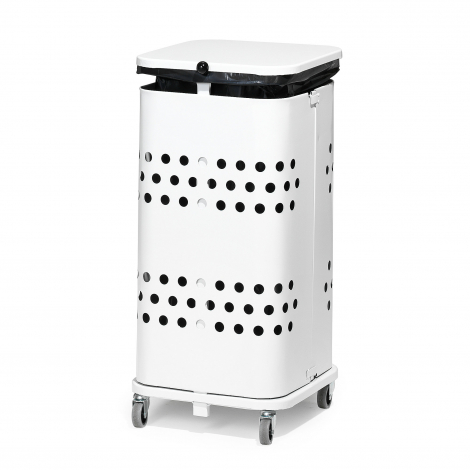 Stojan na odpadkové pytle s víkem, 60 l, bílá