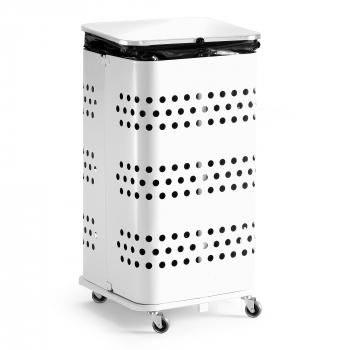 Stojan na odpadkové pytle s víkem, 125 l, bílá