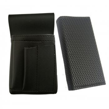 Koženkový set - kasírka (černá, vroubkovaná, 2 zipy) a kapsa New Barex