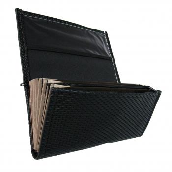Číšnická kasírka - 2 zipy, koženka, vroubkovaná, černá