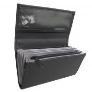 Číšnická kasírka - 2 zipy, koženka, černá