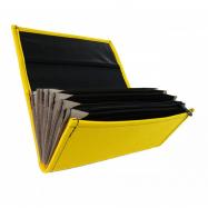 Číšnická kasírka - 2 zipy, koženka, žlutá