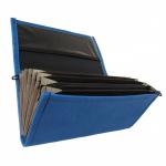Koženková dvouzipová kasírka / flek v modré barvě, vzorem napodobujícím kůži. Standartní provedení kasírky vhodné pro všechny čišníky a servírky.