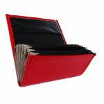 Koženková dvouzipová kasírka / flek v červené barvě, vzorem napodobujícím kůži. Standartní provedení kasírky vhodné pro všechny čišníky a servírky.