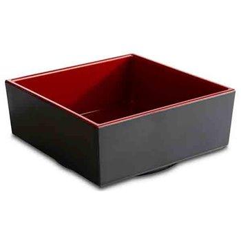 Čtvercová mísa z melaminu, červeno-černá 0,85 l