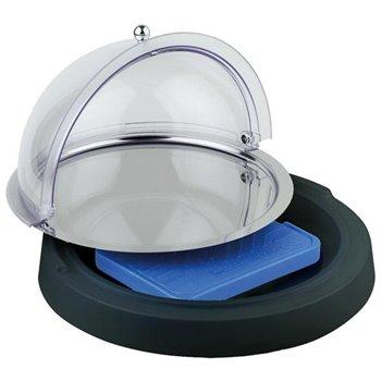 Chladící vitrína kulatá na plastovém podstavci ø 420x60 mm, černá
