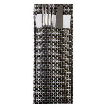 Pouzdro na příbory 24 x 9 cm, stříbrno-šedé