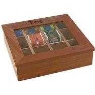 Krabice na čaj, tmavé dřevo 310x280x90 mm