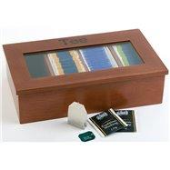 Krabice na čaj, tmavé dřevo 335x200x90 mm