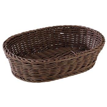 Oválný košík z polypropylenu, hnědý 320x230x70 mm