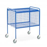 Drátěný vozík s víkem, modrý