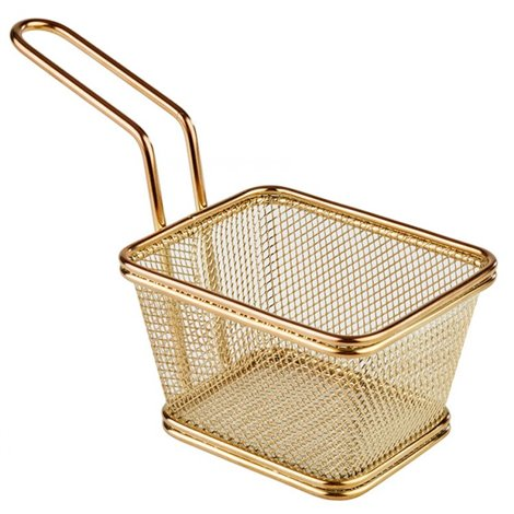 Mini košík pro servírování smažených pokrmů, 130x105 mm zlatý