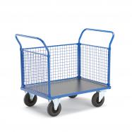 Plošinový vozík, 2 madla a 3 drátěné stěny, 1165x700x1020 mm, bez brzd