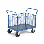 Plošinový vozík, 2 madla a 4 drátěné stěny, 1165x700x1020 mm, bez brzd